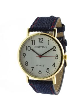 Digitime Denim Analogue Watch - Gold