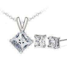 Treasures Elegant Square Diamond Necklace and Earring set