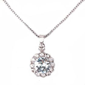 Civetta Spark Brilliance Pendent - Swarovksi Crystal In Light Azore & Sterling Silver Chain