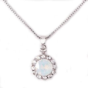 Civetta Spark Brilliance Pendent - Swarovksi Crystal In White Opal & Sterling Silver Chain