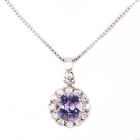 Civetta Spark Brilliance Pendent - Made with Tanzanile Swarovski® Crystal & Sterling Silver Chain