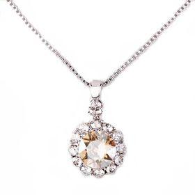 Civetta Spark Brilliance Pendent - Swarovksi Crystal In Golden Shadow & Sterling Silver Chain