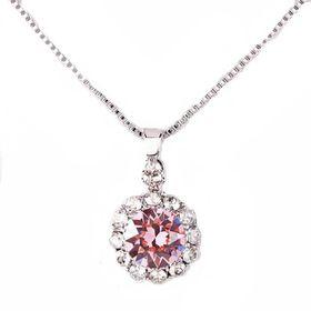 Civetta Spark Brilliance Pendent - Swarovksi Crystal In Light Rose & Sterling Silver Chain