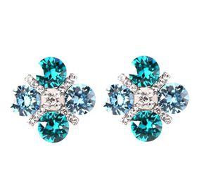 Civetta Spark XOXO Earrings - Aquamarine and Light Turquoise Swarovski Crystal