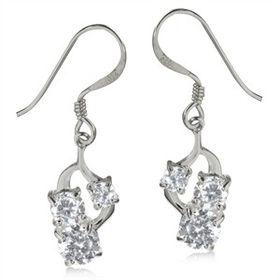 Miss Jewels- 1.64ct Clear CZ Drop Earrings in 925 Sterling Silver