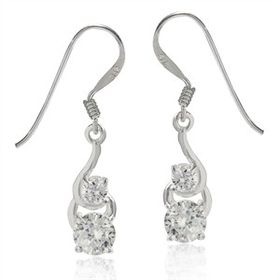 Miss Jewels- 1.14ctw Clear CZ Drop Earrings in 925 Sterling Silver