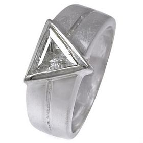 Miss Jewels- 925 Sterling Silver Clear Trillion Cut Cubic Zirconia Wedding Band