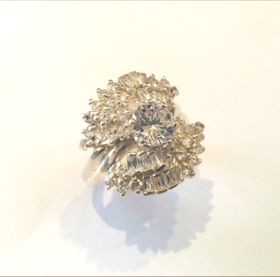 Miss Jewels- 925 Sterling Silver Cubic Zirconia Cluster Dress Ring