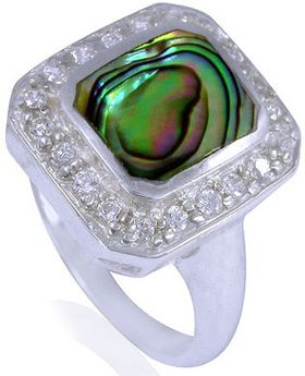 Miss Jewels- 925 Sterling Silver Natural Abalone Sea Shell & Cubic Zirconia Gemstone Cocktail Ring