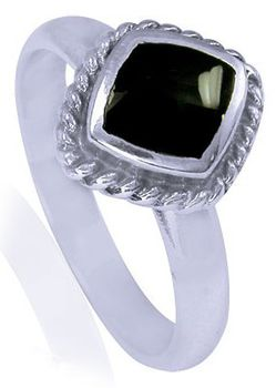Miss Jewels- 925 Sterling Silver Inlaid Black Onyx Cocktail Ring