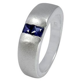 Miss Jewels- 925 Sterling Silver Sapphire Cubic Zirconia Wedding Band with Satin Finish
