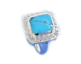 Miss Jewels- 925 Sterling Silver Inlaid Turquoise and Clear Cubic Zirconia Cocktail Ring