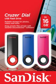 SanDisk Cruzer Dial Triple Pack USB Flash Drives 16GB x3 - Blue   Pink   Black