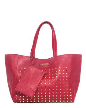 Bossi Studded Ladies Shopper Bag - Red