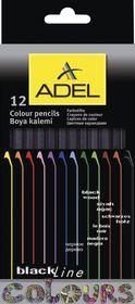 Adel 12 Blackline Colour Pencils