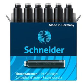 Schneider Ink Cartridges for Fountain Pen - Black (Box of 6 Refills)