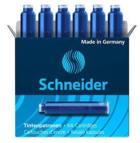 Schneider Ink Cartridges for Fountain Pen - Blue (Box of 6 Refills)