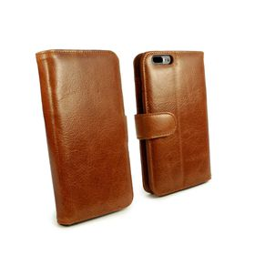 Tuff-Luv Vintage Leather Wallet and Screen Protector for iPhone 7 Plus - Brown