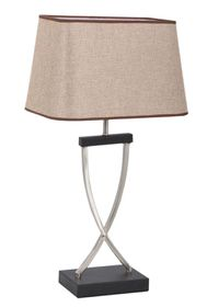 Bright Star - Satin Chrome Table Lamp With Hessian Shade