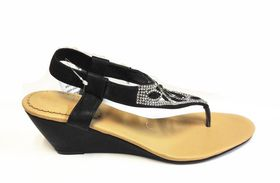 Lavanda Diamante Thong Wedge Sandals - Black (WF229)