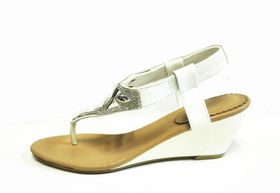 Lavanda Diamante thong wedge sandals in white (WF229 White)