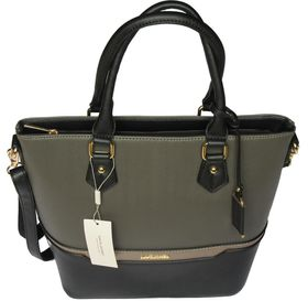 David Jones PU Leather Tote 5265-4 - Dark Grey