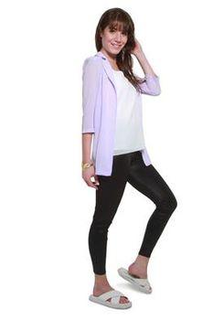 Glamzza Ladies Clara Sheer Shirt Jacket - Lavendar (Size: S-M)
