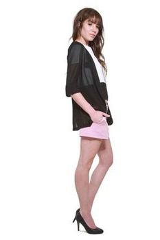Glamzza Ladies Shawl Collar Sheer-Sleeve Blazer - Black (Size: S-M)