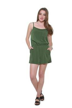 Glamzza Ladies Summer Love Strappy Romper - Green (Size: S-M)