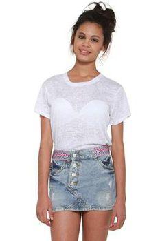 Glamzza Ladies Button Down Denim Distressed Mini Skirt (Size: S-M)