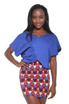 Glamzza Ladies Geo Pencil Mini Skirt Multi Colored (Size: Small)