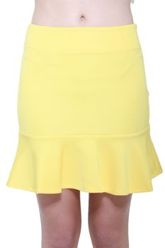 Glamzza Ladies Lexi Insert Ruffle Skirt - Yellow (Size: Small)