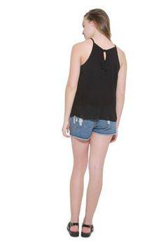 Glamzza Ladies Bianca Halter Top - Black (Size: S-M)