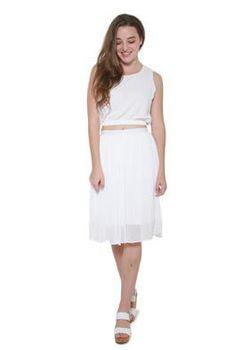 Glamzza Ladies Elastic Short - Waisted Tank - White (Size: S-M)