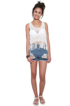 Glamzza Ladies Alicia Lace Fringe Top (Size: One Size Fits All)