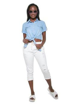 Glamzza Ladies Chambray Midriff Tie Top (Size: S-M)
