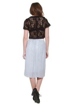 Glamzza Ladies Lovely - Lace Midriff Blouse - Black (Size: Small)