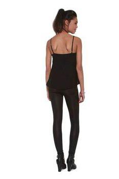 Glamzza Ladies Rockstar Fringed Cami - Black (Size: Small)