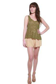 Glamzza Ladies Gypsy Crocheted Tank (Size: S-M)