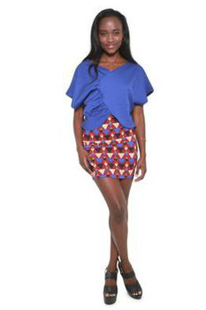 Glamzza Ladies Gathered Tulip Top - Periwinkle (Size: One Size Fits All)