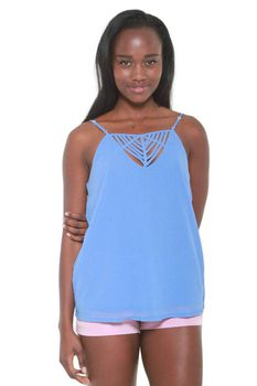 Glamzza Ladies Peek-A-Boo Periwinkle Cami (Size: S-M)
