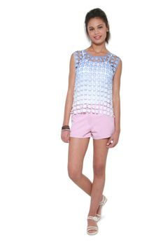 Glamzza Ladies Floral Lace Top Blue To White Fade (Size: S-M)