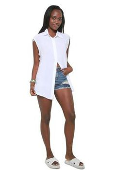 Glamzza Ladies Cutoff Sleeves Top - White (Size: One Size Fits All)