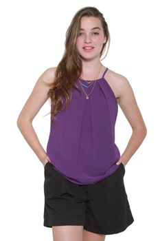 Glamzza Ladies Haley Deep Purple Halter Top (Size: S-M)