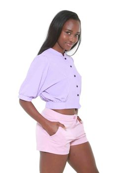 Glamzza Ladies Lilly Midriff Top - Lavender (Size: One Size Fits All)