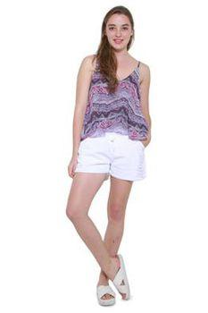 Glamzza Ladies Launa Deep V Back Cami - Purple (Size: One Size Fits All)