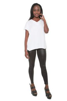 Glamzza Ladies Short Sleeved Hi-Lo Top - White (Size: One Size Fits All)