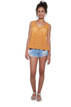 Glamzza Ladies Gypsy Crocheted Tank - Yellow (Size: S-M)