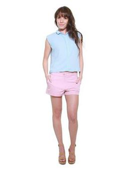 Glamzza Ladies Skylar Midriff Top - Blue (Size: One Size Fits All)
