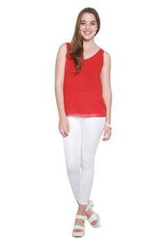 Glamzza Ladies Rachel Sheer Tank - Red (Size: S-M)